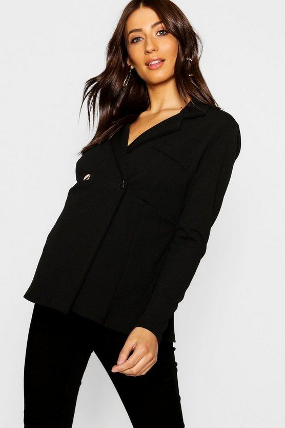 Maternity Horn Button Peplum Jacket