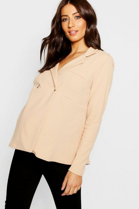 Womens Stone Maternity Horn Button Peplum Jacket