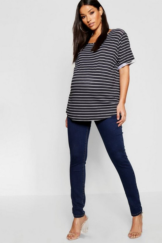 Womens Dark blue Maternity Over The Bump Skinny Jean
