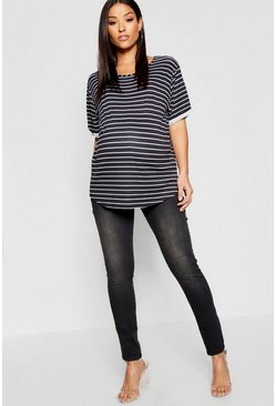 Womens Charcoal Maternity Over The Bump Skinny Jean