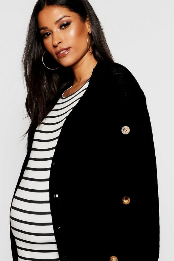 Womens Black Maternity Mock Horn Button Cardigan