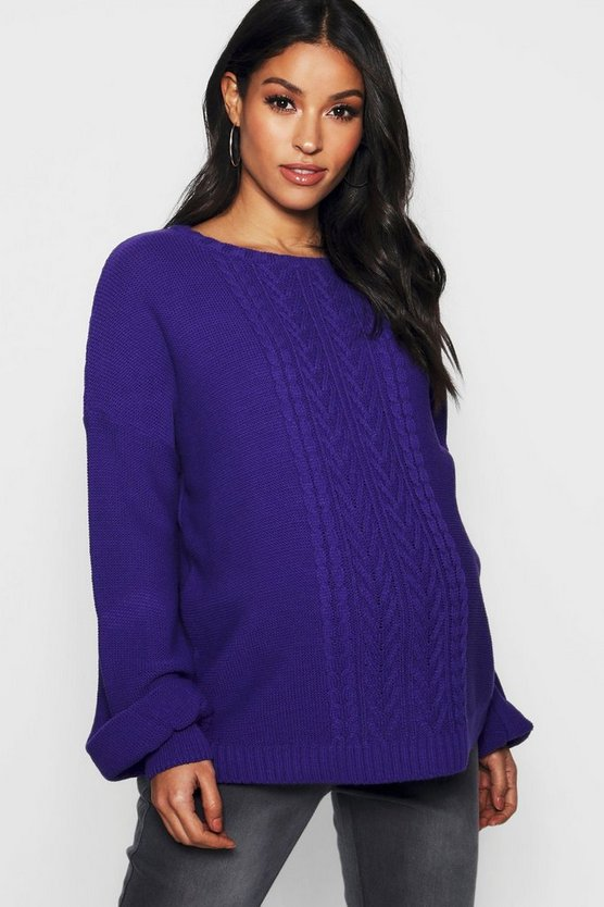 Maternity Cable Knitted Balloon Sleeve Jumper