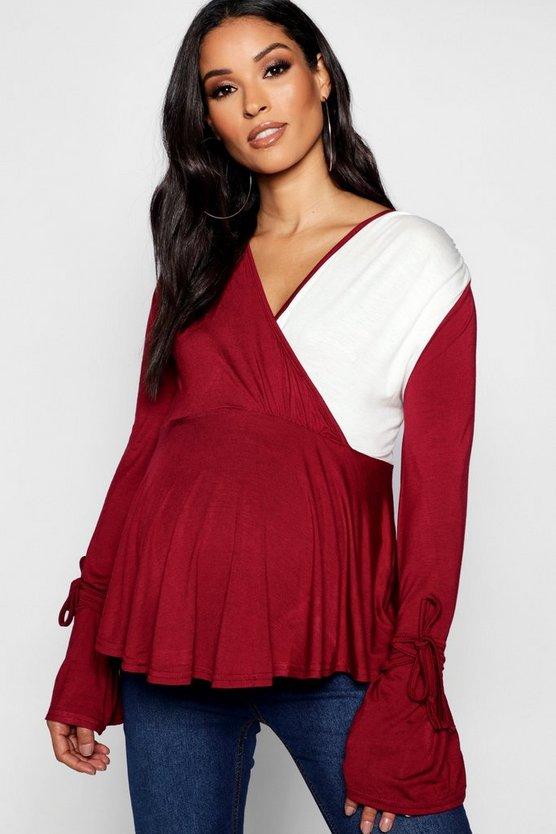 Maternity Contrast Wrap Top