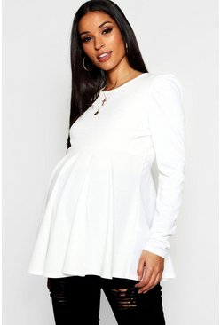 Womens Ivory Maternity Gathered Sleeve Peplum Top