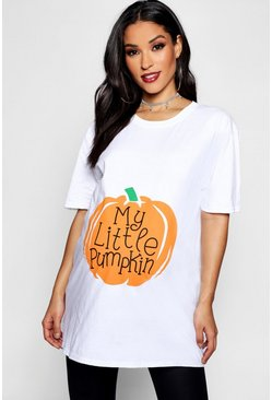 Maternity My Little Pumpkin Halloween T-Shirt, White, MUJER