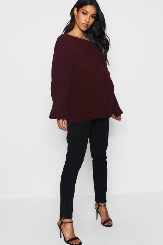 Womens Black Maternity Over The Bump Skinny Jeans With Zips
