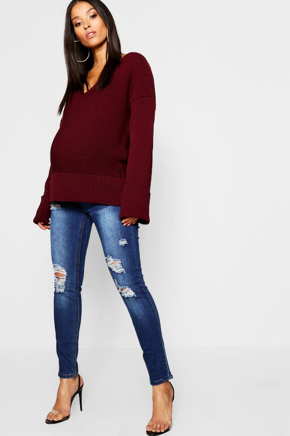 Maternity Dark Wash Distressed Over Bump Jeans