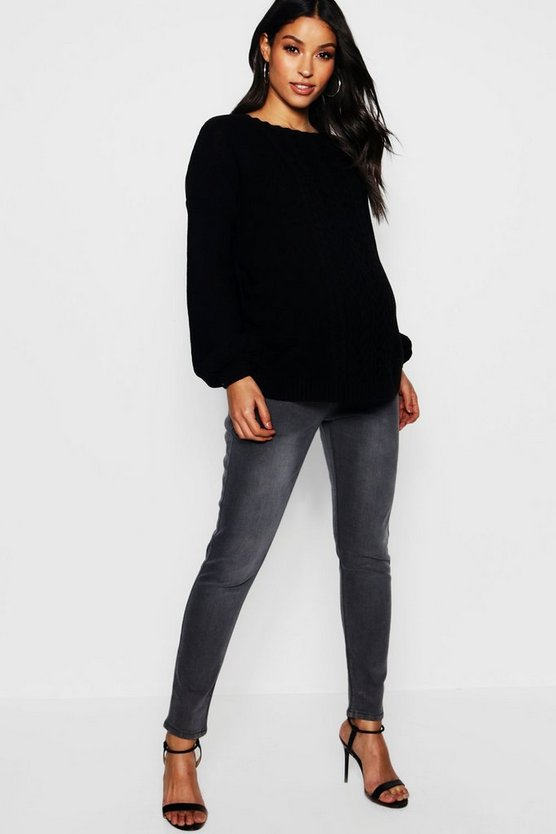 Womens Maternity Grey Over The Bump Skinny Jean
