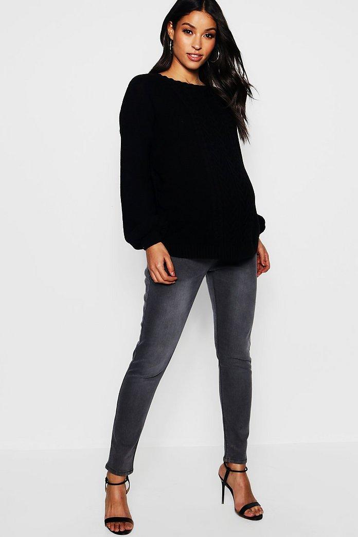 bbb408685 Jeans skinny por encima de la barriga gris premamá