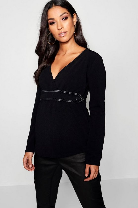 Womens Black Maternity Contrast Stitch Long Sleeve Wrap Top