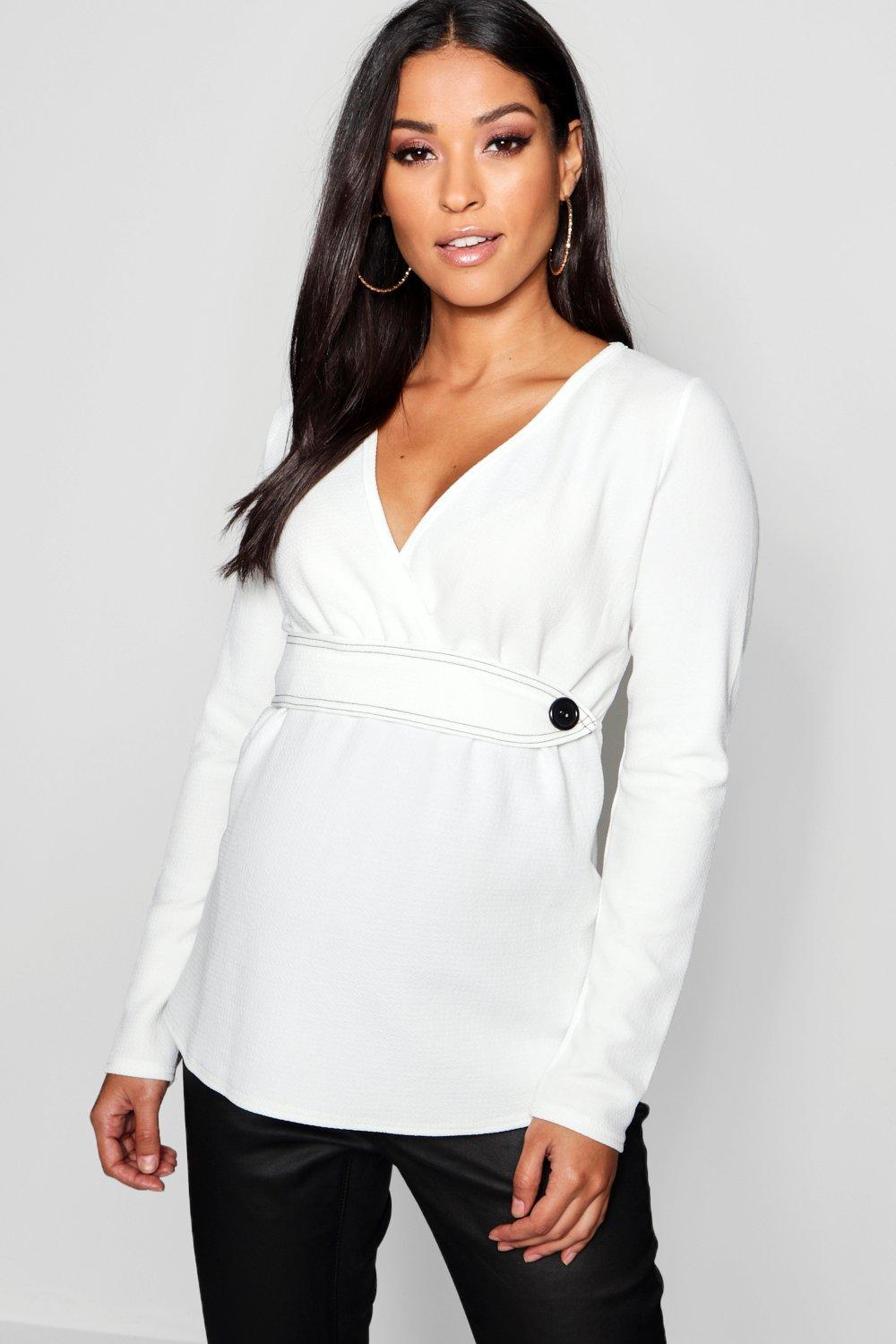 white Long Contrast Maternity Wrap Sleeve Top Stitch gzaqPT