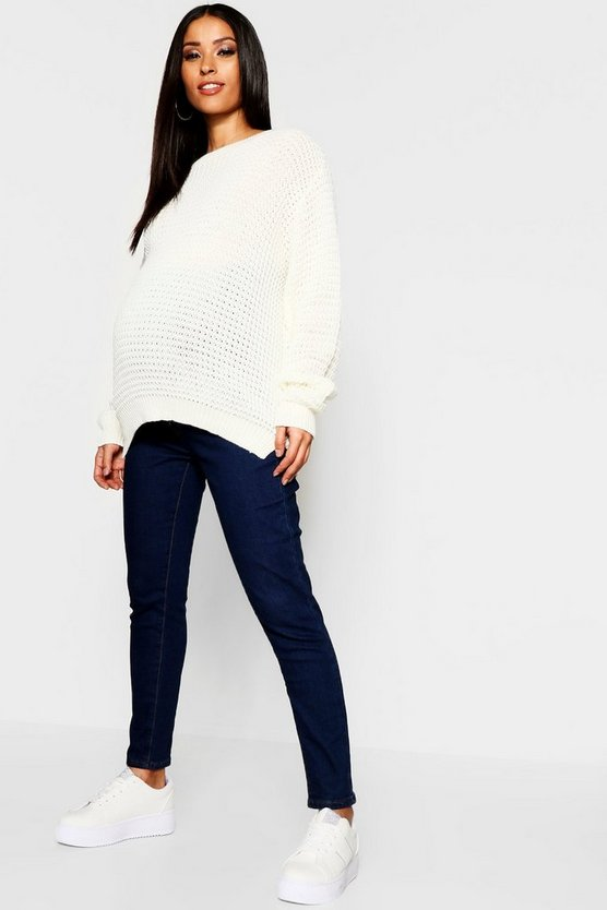 Maternity Indigo Button Up Over Bump Skinny Jean