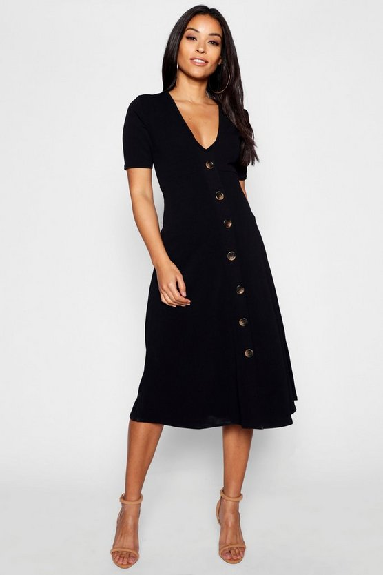 Womens Black Maternity Horn Button A Line Midi Dress