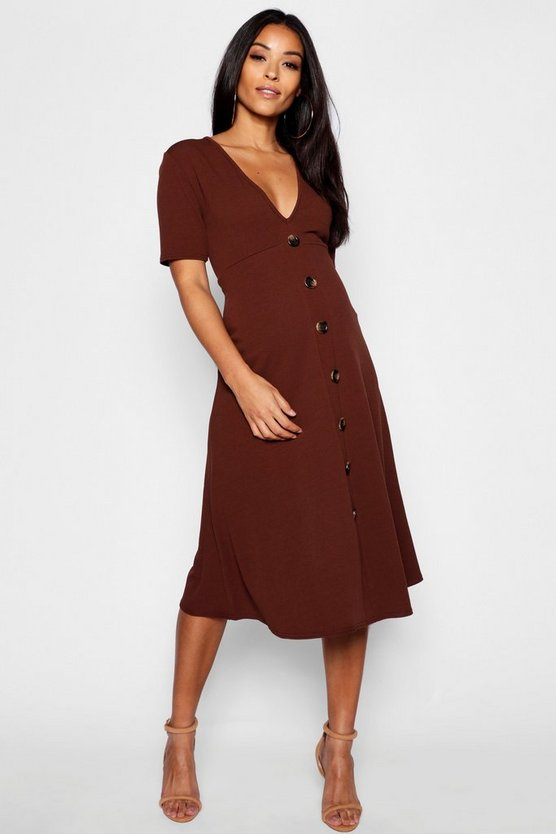 Womens Chocolate Maternity Horn Button A Line Midi Dress