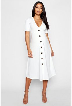 Womens Ivory Maternity Horn Button A Line Midi Dress