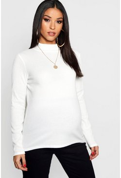 Womens Ivory Maternity Soft Rib Roll Neck Top