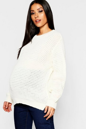 Womens Ivory Maternity Crew Neck Jumper