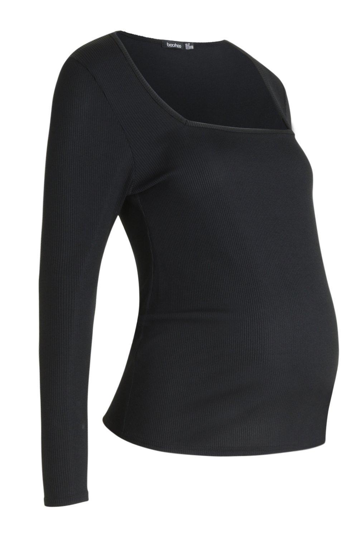 Top black Rib Long Maternity Square Sleeve Neck wxWTqXw6On