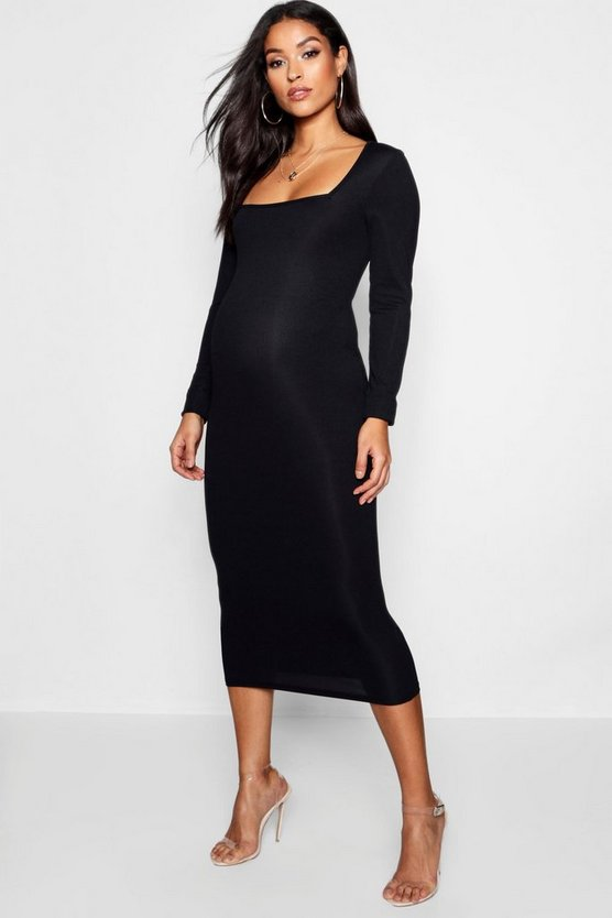 Womens Black Maternity Square Neck Long Sleeve Midi Dress