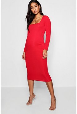 Dam Red Maternity Square Neck Long Sleeve Midi Dress