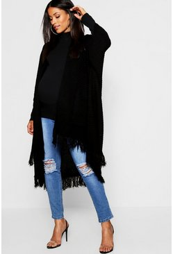 Womens Black Maternity Tassel Hem Cardigan