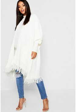 Womens Cream Maternity Tassel Hem Cardigan