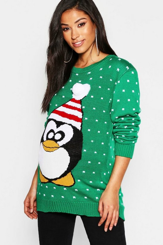Maternity 3D Pom Pom Penguin Knit