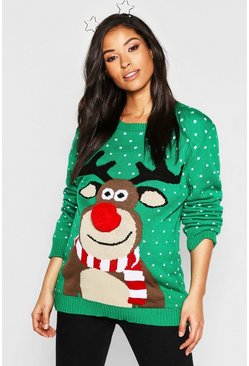 Womens Green Maternity 3D Pom Pom Reindeer Jumper