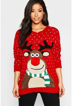 Maternity 3D Pom Pom Reindeer Jumper, Red