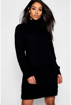 Womens Black Maternity Soft Knit Roll Neck Jumper Dress
