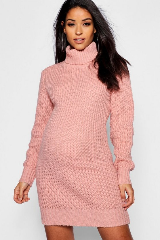 Womens Blush Maternity Soft Knit Roll Neck Sweater Dress