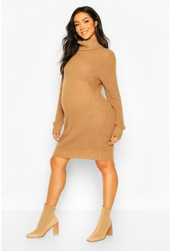 Camel Maternity Soft Knit Roll Neck Sweater Dress