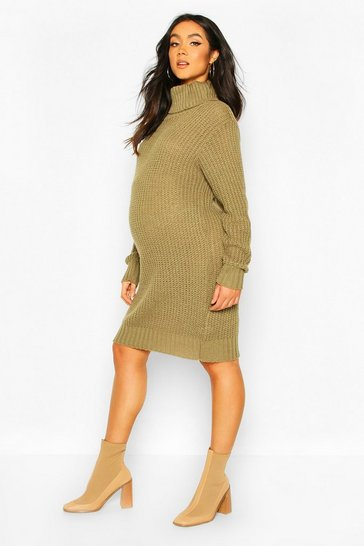 Khaki Maternity Soft Knit Roll Neck Jumper Dress