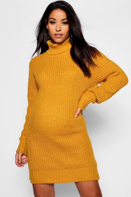Womens Mustard Maternity Soft Knit Roll Neck Jumper Dress