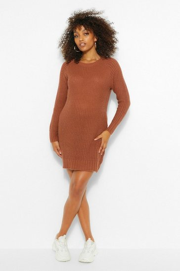 Womens Tobacco Maternity Soft Knit Jumper Dress