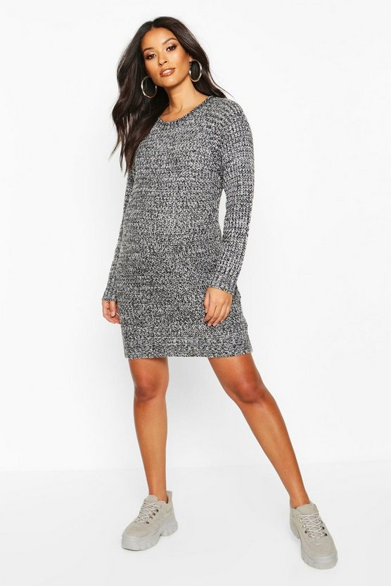 Womens Black Maternity Soft Twist Knit Marl Dress