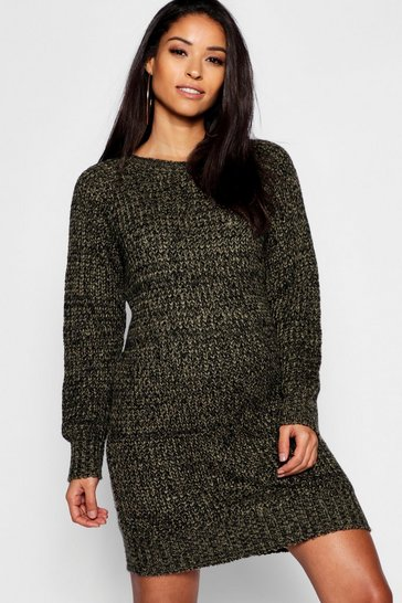 Womens Khaki Maternity Soft Twist Knit Marl Dress