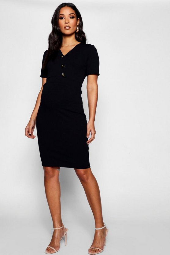 Womens Black Maternity Plunge Neck Horn Button Dress