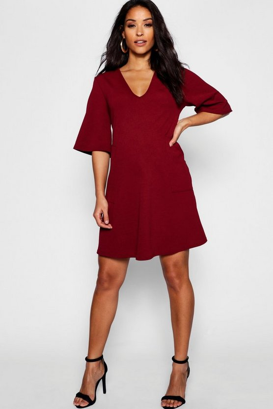 Maternity V Neck Smock Dress