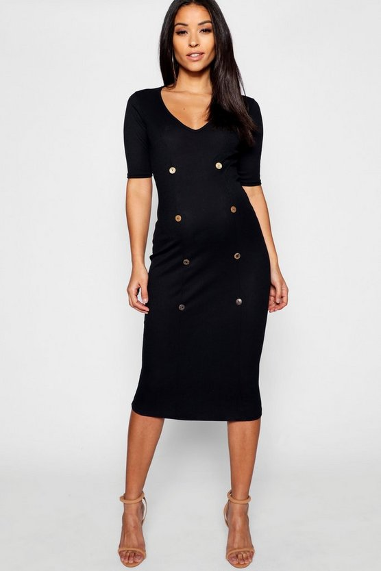 Maternity Rib Mixed Horn Button Midi Dress