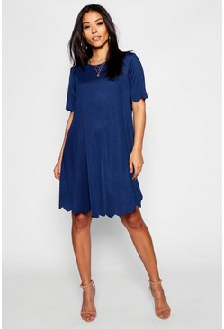 Womens Navy Maternity Scallop Edge Shift Dress