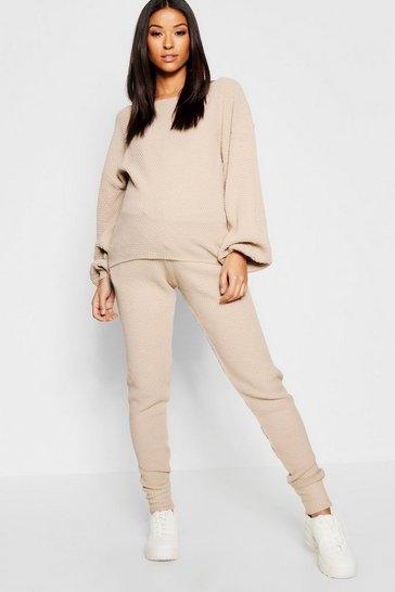 Womens Stone Maternity Waffle Balloon Sleeve Jogger Set
