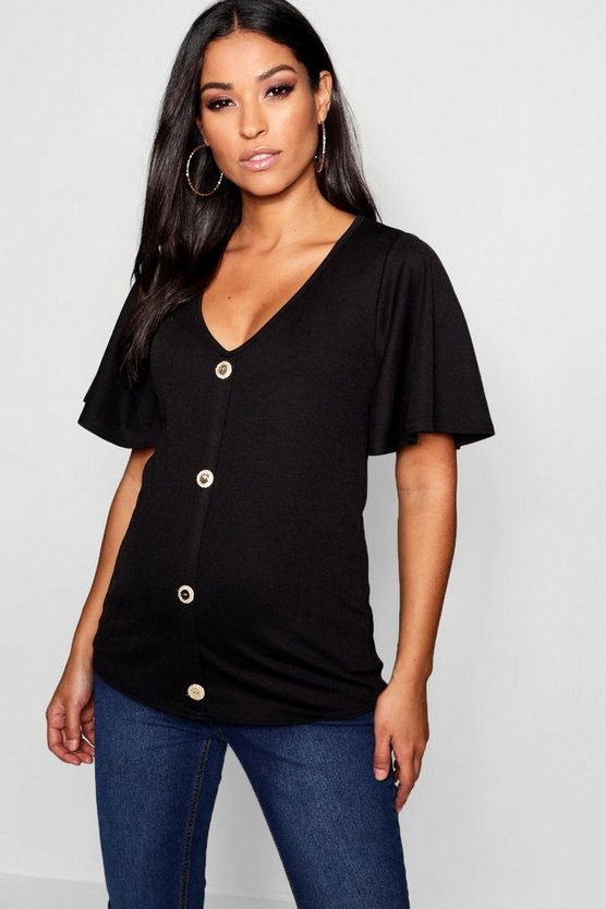 Maternity Flare Sleeve Gold Button Up Top