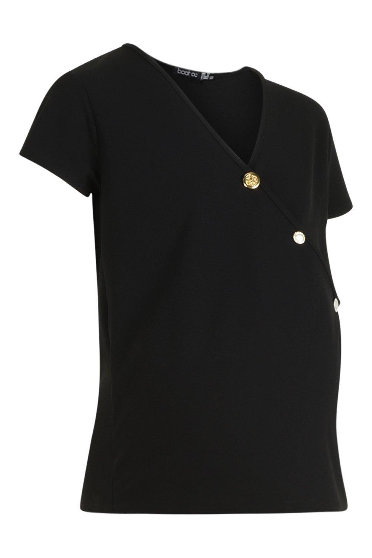 Match black Top Up Wrap Button Maternity Mix zPn11C