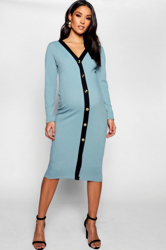 Maternity Wide Rib Long Sleeve Button Up Dress