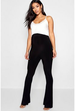 Womens Black Maternity Textured Slinky Flared Leg Trouser