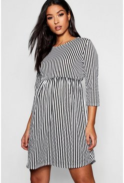 Womens Black Maternity 3/4 Sleeve Stripe Dress
