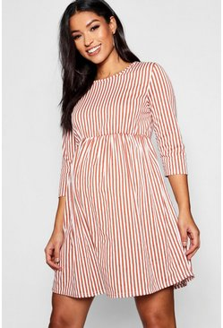 Maternity 3/4 Sleeve Stripe Dress, Terracotta, DAMEN