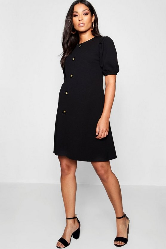 Womens Black Maternity Horn Button Shift Dress