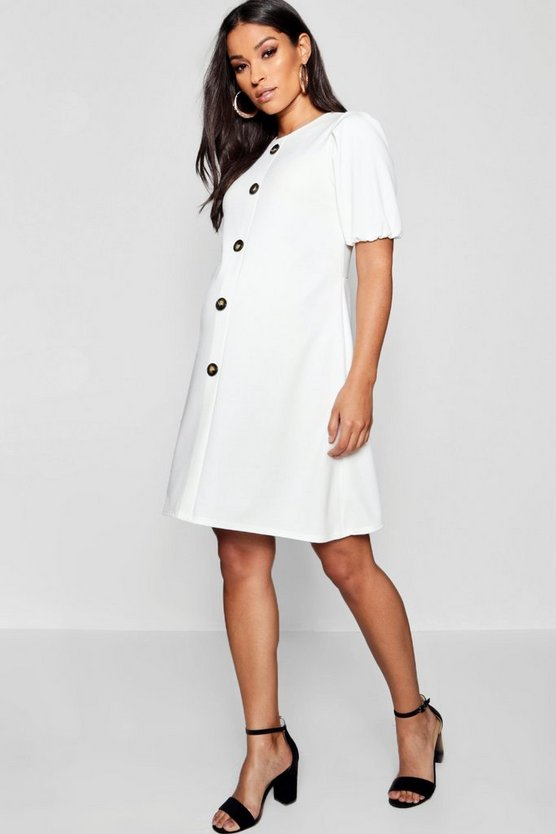 Maternity Horn Button Shift Dress